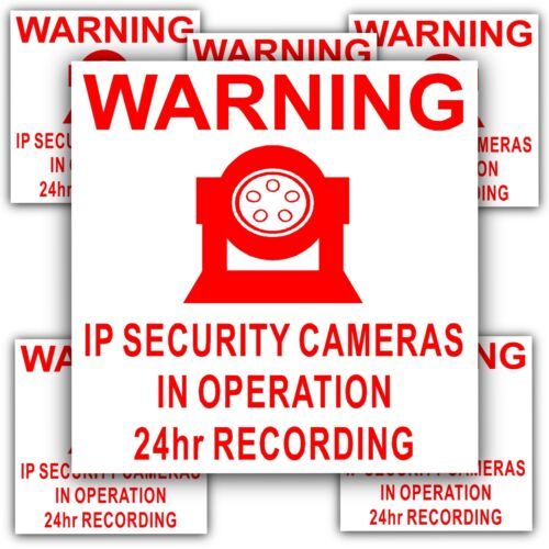 6 x IP Camera Security In Operation Stickers-24hr Surveillance CCTV Signs