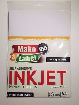 image relating to Printable Adhesive Vinyl identify 10 A4 White VINYL INKJET Printable Shiny Self Adhesive Sticker Sheets 7426848595554 eBay