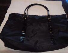 Mary Kay large black nylon tote bag black lining contrasting leather handles