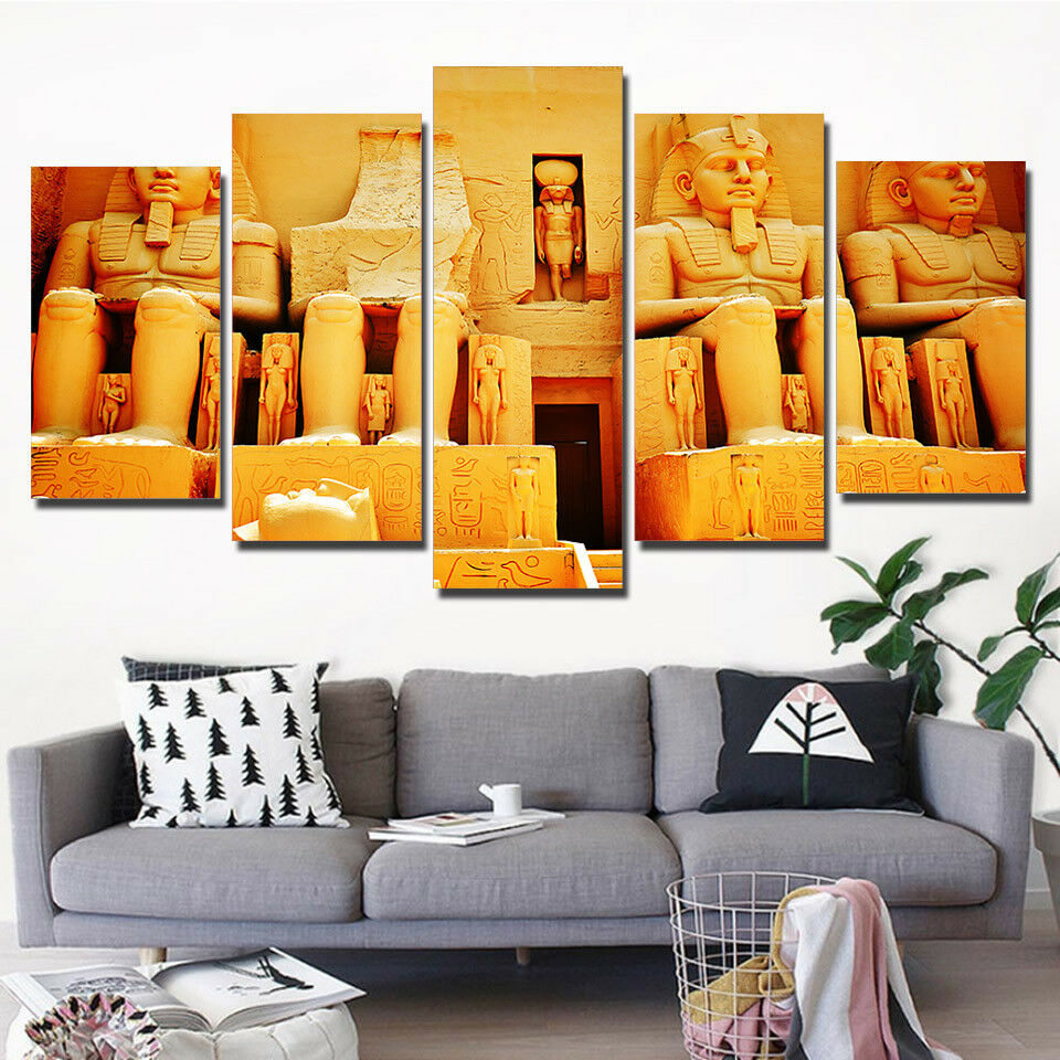 Famous Pharaohs Of Ancient Egypt 5 Panel Canvas Print Wall Art