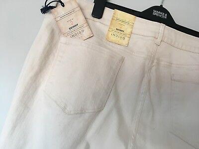Ladies M/&S Indigo Sizes  14 16 Stretch Skinny Jeans Style 2 Ecru