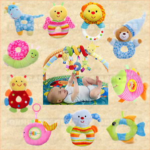 Cute Animal Infant Baby Kids Handheld Bells Shaker Rattle Soft Toy Free Shipping