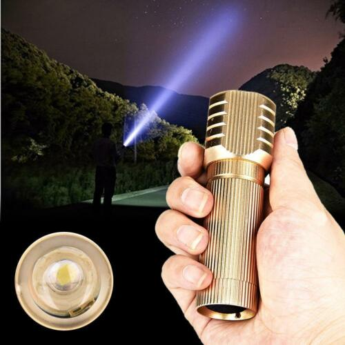 1x Portable 3W LED Zoomable AAA Flashlight Torch Light mini pocket Gold GA