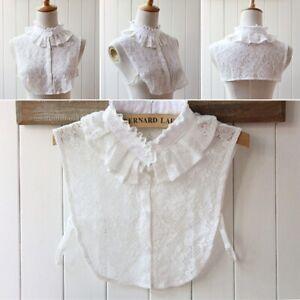 Women-Pure-Color-Lace-Detachable-Lapel-Choker-Necklace-Shirt-Fake-False-Collar