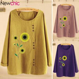 Belle-Femme-Shirt-Haut-Floral-Manche-Longue-Col-Rond-Coton-Quotidienne-Tops-Plus