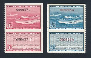 US RVB1 RVB2 Federal Boating Revenue Stamps = XF Mint VLH Pair