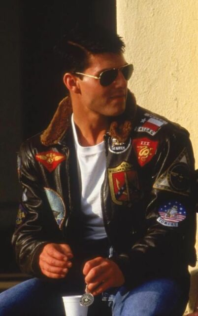Top Gun Tom Cruise Brown Bomber Leather Jacket Air Force Pilot Pete Maverick