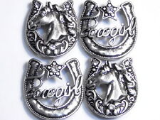"4 - 2 HOLE BEADS CLEAR CRYSTAL WESTERN HORSESHOE ""COWGIRL"" HORSE HEAD IN SILVER"