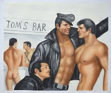 PEINTURE A L'HUILE INSPIREE DE TOM OF FINLAND DECORATION BAR GAY