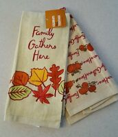 Kohls Fall / Thanksgiving 2 Kitchen Towels Family Gathers Here 21416