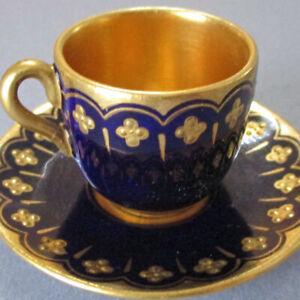 """Antique COALPORT HP Porcelain Miniature 1"""" Cup + Saucer COBALT w GILT Paste DOLL"""