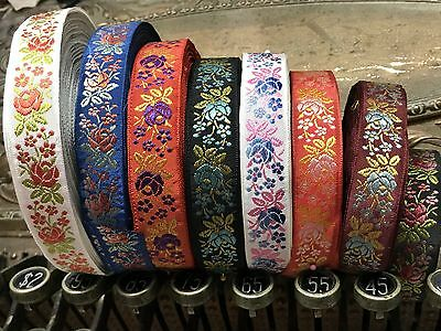 "VINTAGE EMBROIDERED JACQUARD Ribbon 3/4"" FRANCE Trim 1yd Rayon & SILK"