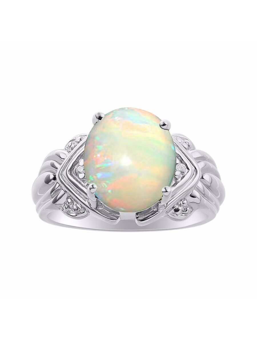 Diamond & Opal Ring Set In 14K White gold - 12 X 10MM color Stone Birthstone Rin