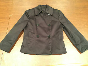 THEORY-Womens-Size-0-Extra-Small-Cotton-Blend-BLACK-SHORT-CROP-BLAZER-JACKET-EUC