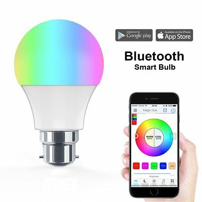 Bluetooth Smart B22 LED RGB Light Bulb Dimmable Wireless App Control Phone