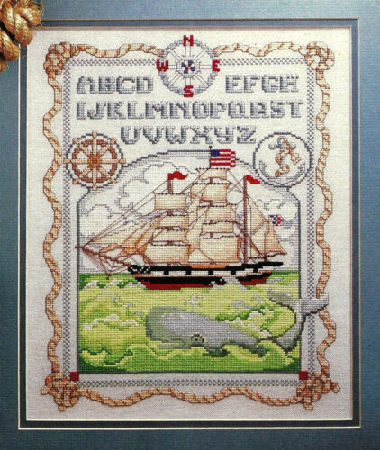 Sailing Ship Maritime Sampler Cross Stitch Pattern chart from magazine Ocean Sea