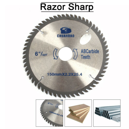 """6/"""" Carbide 60 Tooth  Table circular saw blade for woodworking 150mmx2.2x25.4 TCT"""