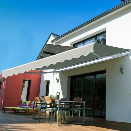 Manual Retractable Patio Awning Sunshade Shelter Window Polyester Outdoor Canopy