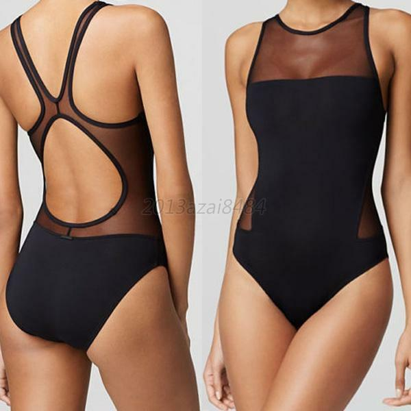 Sexy Women's Mesh One-Piece Backless Bikini Monokini Swimwear Swimsuit Beachwear