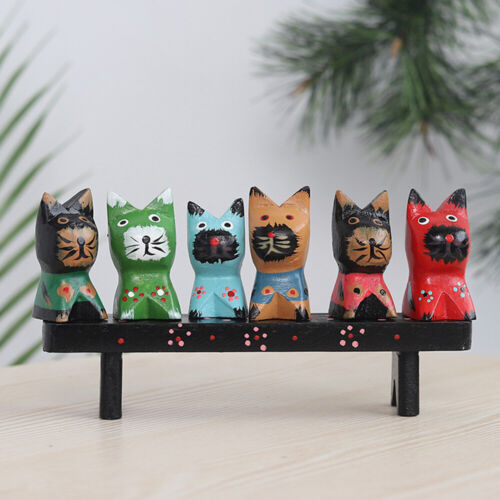 Wooden Cute Family Cat Handmade Art Wood Display Hand Carved Home Decor Gift