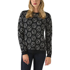 Women's XS VANS HOLIDAY FUN GUY SWEATER TOP sweatshirt BLACK SMILEY FACE NIRVANA