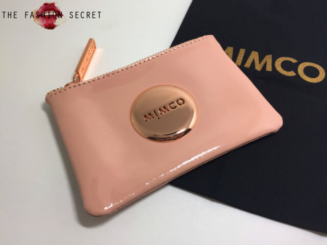 Mimco small coin pouch blush pink patent leather rosegold hardware