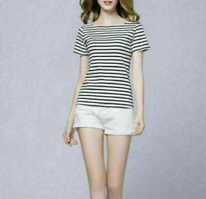 Women-Slim-Fit-Short-Sleeve-Stripe-T-Shirt-Casual-Shirts-Tee-Tops-Blouse-Black