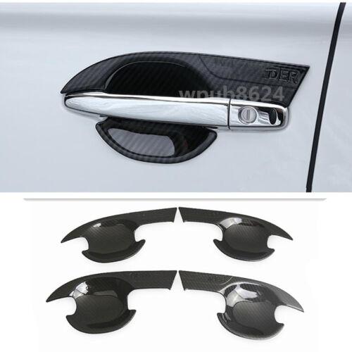 4PCS Carbon Fiber Outer Door Bowl Cover Trim For Mitsubishi Outlander 2013-2019