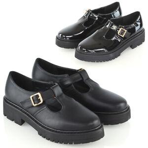 Para-Mujer-Mary-Jane-Zapatos-Damas-Hebilla-Correa-T-Geek-Suela-Gruesa-Zapatos-Escolares