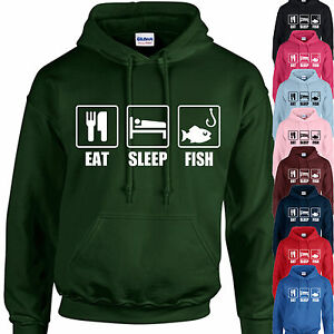 EAT TOP GIFT FISHING ANGLING PERSONALISED SLEEP FISH HOODIE ADULT//KIDS