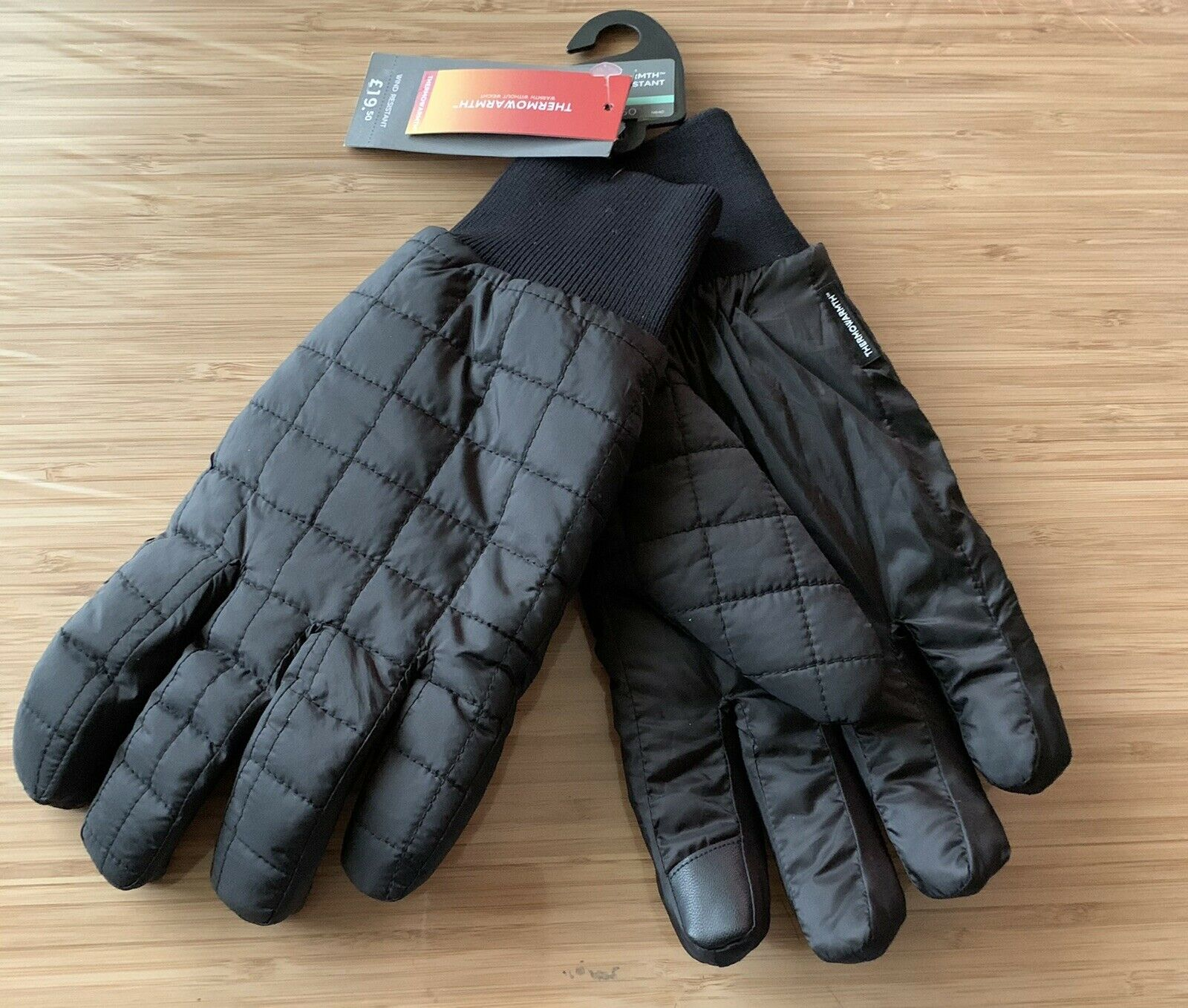 M&S Thermal Quilted Performance Gloves Black Touchscreen Compatible Size L/XL