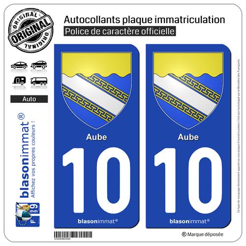 2 Adhésifs Plaque D'immatriculation Auto | 10 Aube - Armoiries