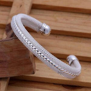 Pretty-silver-plated-Fashion-mesh-Lady-Bangle-jewelry-wedding-cute-nice-gift