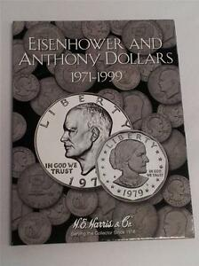 Harris Coin Folder # 2699 Eisenhower dollars /& SBA dollars 1971-1981 /& 1999 H.E
