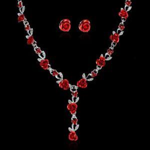 Women-Rose-Flower-Wedding-Bridal-Bride-Crystal-Necklace-Earrings-Jewelry-Set-Hot