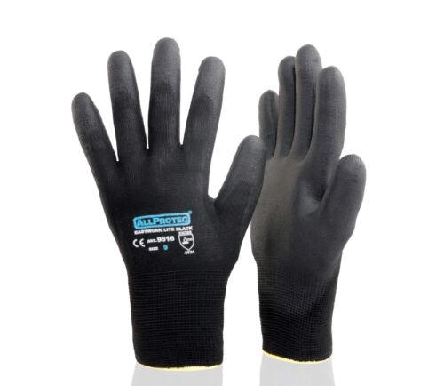 Größe 10schwarz Allprotec Easywork Lite Black Nylon PU-teilbeschichtet Kat 2