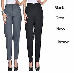 Image Is Loading Women Las Elasticated Trouser Clic School Office Pants