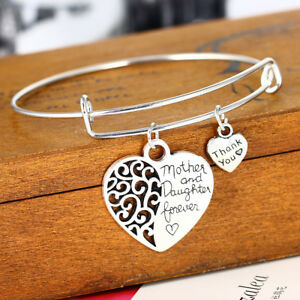 Hollow-Heart-Mother-And-Daughter-Silver-Bangle-Charm-Bracelet-Family-Love-Women