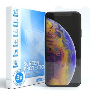 3x-Apple-iPhone-X-XS-Schutzglas-Displayschutz-Glasfolie-Echt-Glas-9H