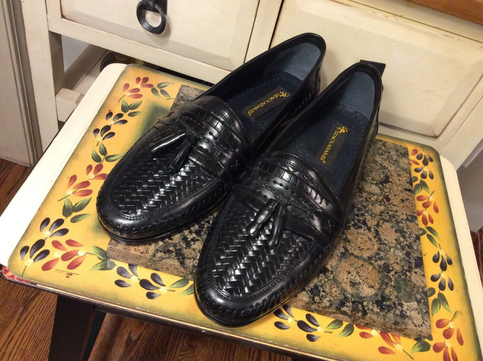 Men's Stacy Adams shoes Loafers Sz 9.5M Black woven Tassels Made in Brazil ,euc