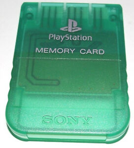 Genuine-Sony-Playstation-1-Memory-Card-1MB-Clear-Green-PS1-Original