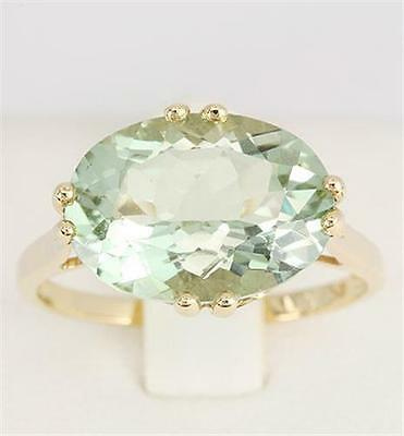 Genuine 5.35ct Green Amethyst 9K 9ct 375 Solid Gold Ring Real Brand New