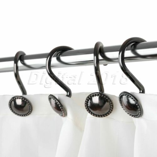 Brown Bathroom Round Shower Curtain Hooks Rings Home Decor Zinc Alloy 30mm//1.2in