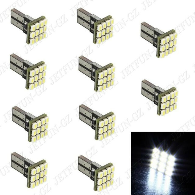 10X White T10 LED 12 SMD Car License Plate Light Tail Bulb 2825 192 194 168 W5W