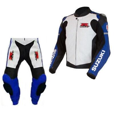 SUZUKI Motorbike//Motorcycle Leather Suit Men Racing Biker Leather Jacket Pant