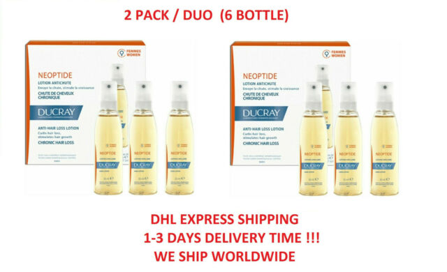 2x Ducray Neoptide Lotion Anti Hair Loss Treatment For Women (Total 6 Bottles)