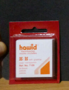 HAWID-STAMP-MOUNTS-CLEAR-Pack-of-50-Individual-35mm-x-35mm-Ref-No-7109