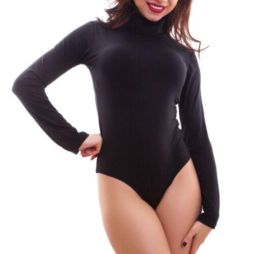 Body donna lupetto maglia collo alto felpato maniche lunghe basic caldo T9741