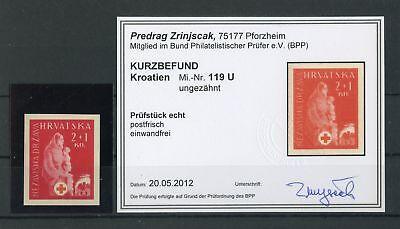 Sporting Kroatien Nr.119u ** UngezÄhnt Rotes Kreuz Befund Zrinjscak Bpp Freigabepreis 132904