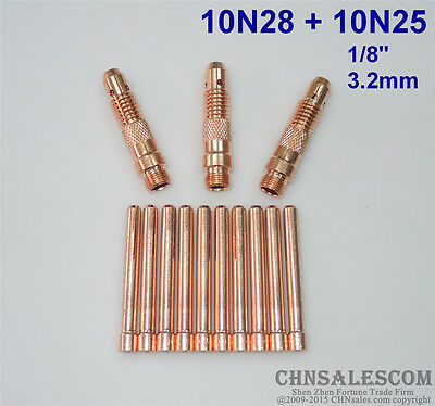 "10Pcs 10N25 Collet Electrodes 3.2mm 1//8/"" For WP-17 WP-18 WP-26 TIG Welding Torch"
